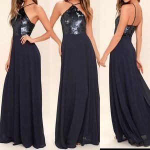 Lulu's NAVY BLUE SEQUIN MAXI DRESS